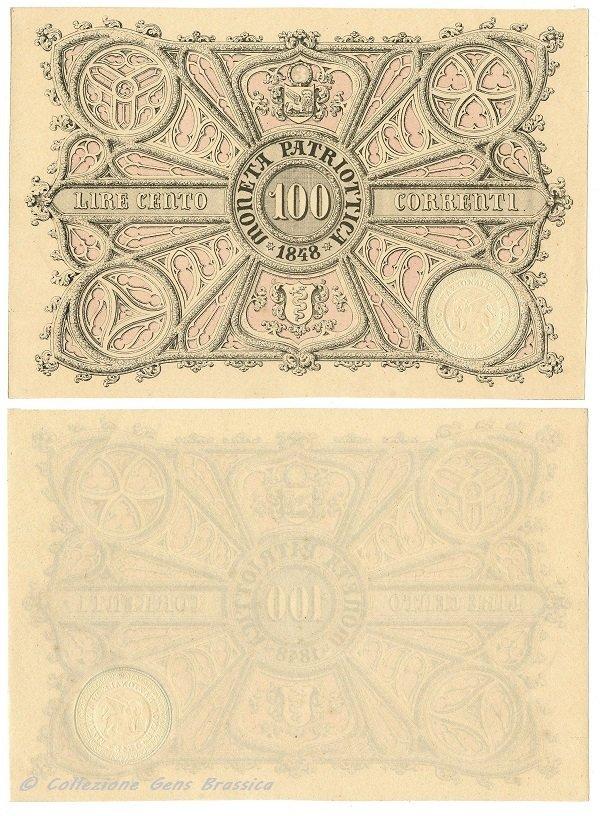 100 lire correnti MONETA PATRIOTTICA 1848 (NC)