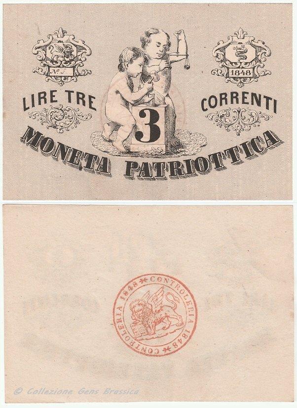 3 lire correnti MONETA PATRIOTTICA 1848 (CC)