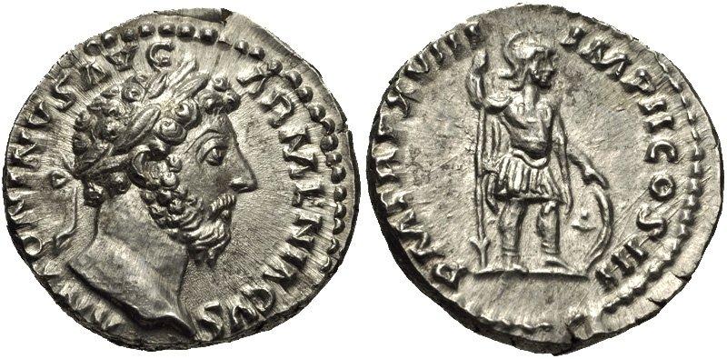 Marco Aurelio Antonino Augusto (161-180 d.C.), 164d.C. denario.jpg