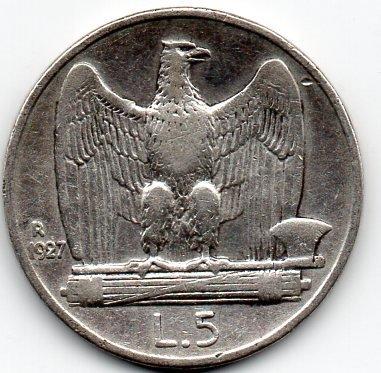 Lire 5 1927 lato A.jpg