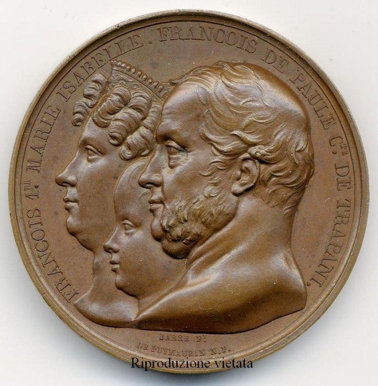 MEDAGLIA 1830 PER LA VISITA DEI REALI DI NAPOLI ALLA ZECCA PARIGI.JPG