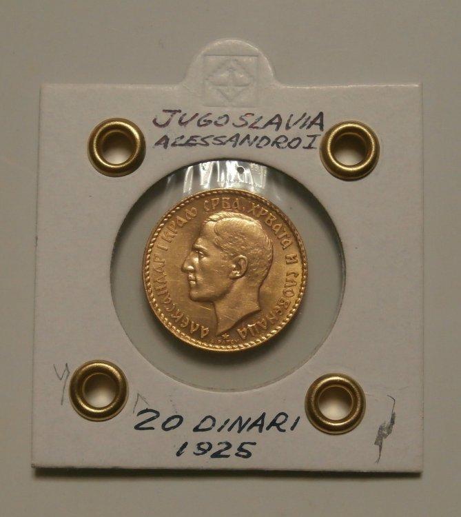 17 - Jugoslavia 20 Dinari 1925 Alessandro I° (dritto).jpg