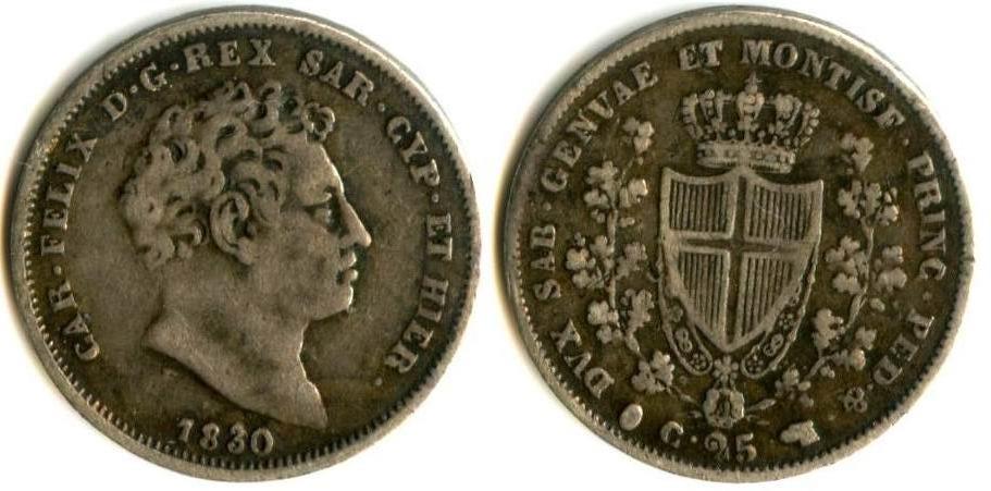 Regno di Sardegna - Carlo Felice - 25 Centesimi 1830 Torino P in ovale