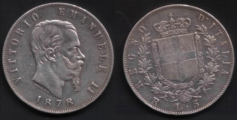 Regno d'Italia, Vittorio Emanuele II, 5 Lire 1878 R.
