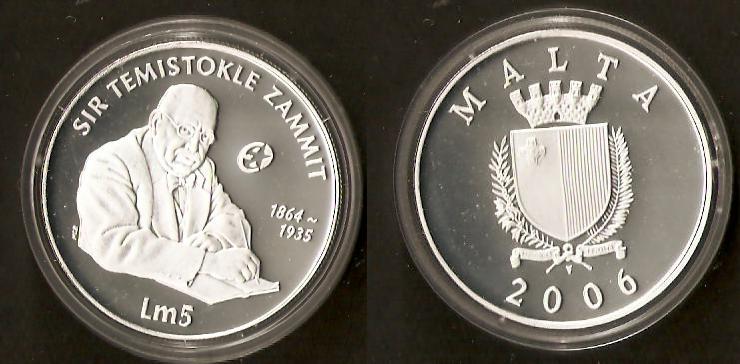 5 Lire 2006 - Sir Temistokle Zammit