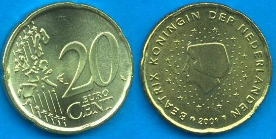 Paesi Bassi 20 cent 1999 - 2006