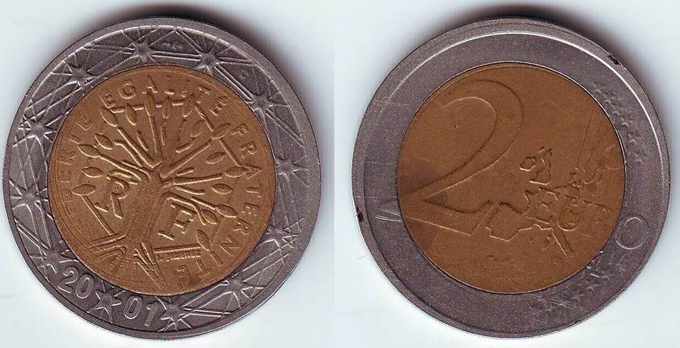 Falso 2 Euro Francia 2001