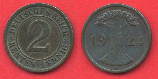 2 Renntenpfennig Repubblica di Weimar