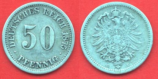 50 Pfennig Impero Tedesco (1875 - 1877)