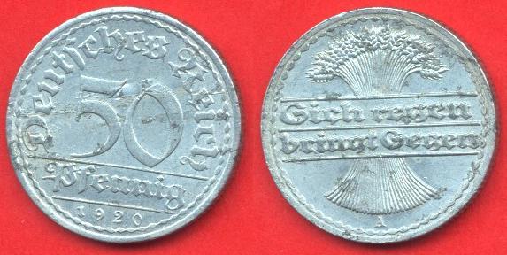 50 pfennig repubblica di Weimar