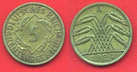 5 Renntenpfennig Repubblica di Weimar