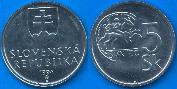 Repubblica Slovacca 5 Koruny 1993-....