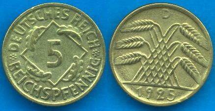 5 reichpfennig Repubblica di Weimar