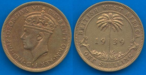 British West Africa 1 Shilling 1938-1947