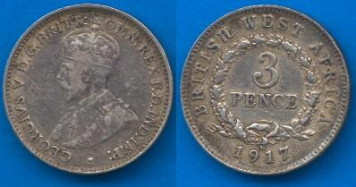British West Africa 3 Pence 1913-1920