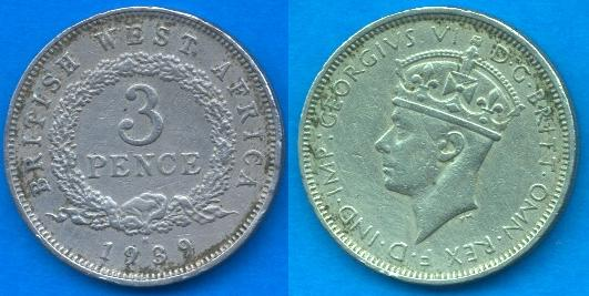 British West Africa 3 Pence 1938-1947