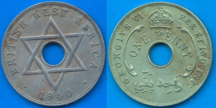 British west Africa 1 Penny 1937-1947
