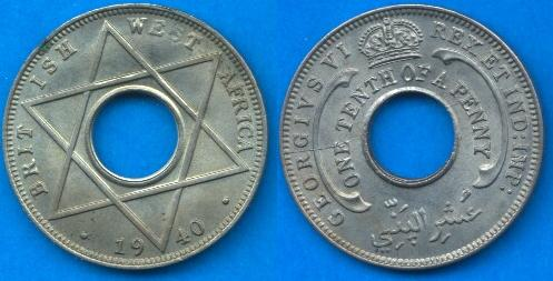 British West Africa 1/10 penny 1938-1947