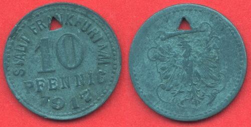 10 Pfennig Notmünze Frankfurt 1917
