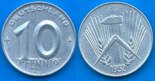 10 Pfennig DDR (1952 - 1953)