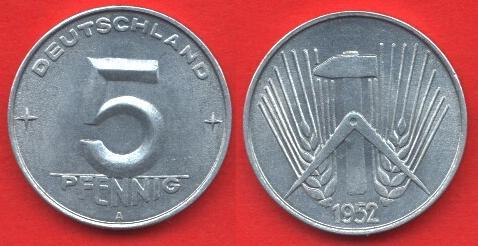 5 Pfennig DDR 1952 - 1953