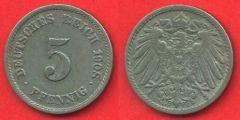 5 Reichpfennig Impero tedesco