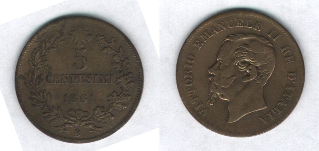 5 centesimi Valore 1861, Bologna - Vittorio Emanuele II