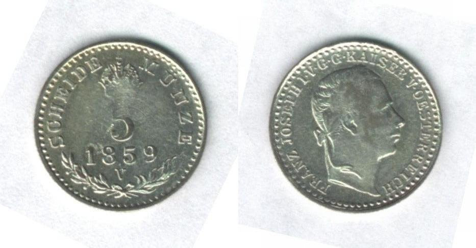 5 Kreuzer 1859, Francesco Giuseppe I° d'Asburgo-Lorena