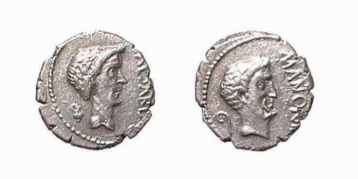 Giulio Cesare e Marco Antonio - Denario
