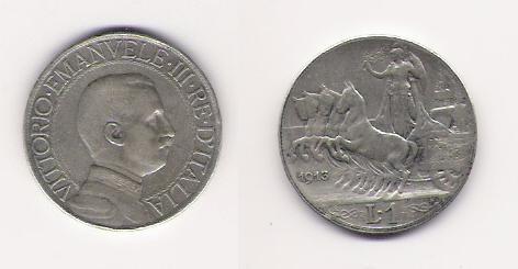 1 lira Quadriga veloce 1913