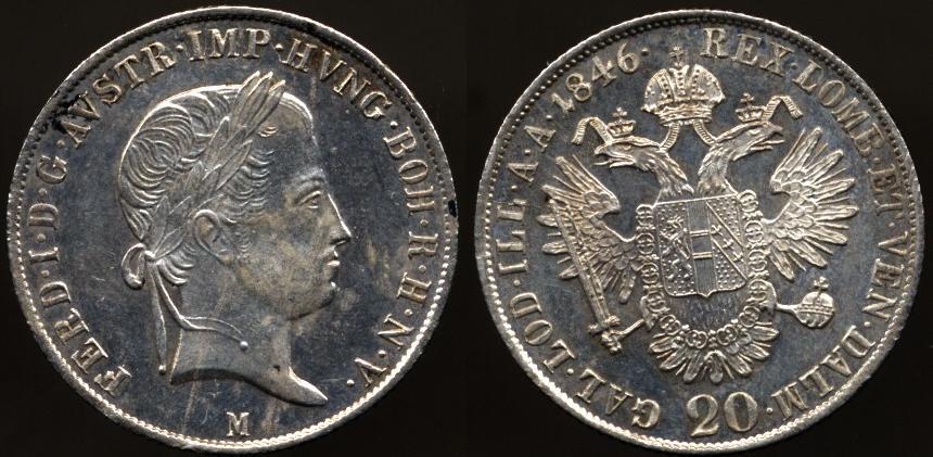 20 kreuzer Ferdinando I 1846 Milano
