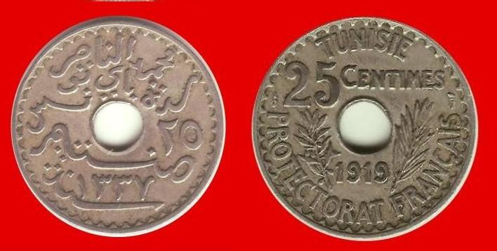 25 centesimi Tunisia protet. francese