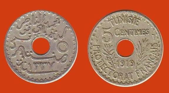 5 centesimi Tunisia protet. Francese