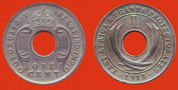 1 cent Africa oriental Brit. & Uganga prot.