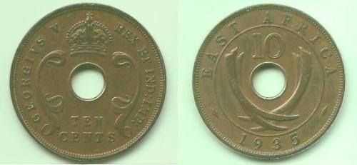 10 cents Africa Orientale Britannica, Giorgio V