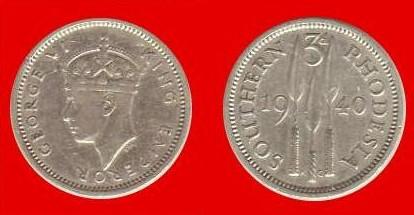 3 pence Rhodesia meridionale Giorgio VI imp.