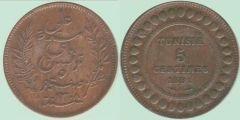 5 centesimi Tunisia protet. francese (primo tipo)