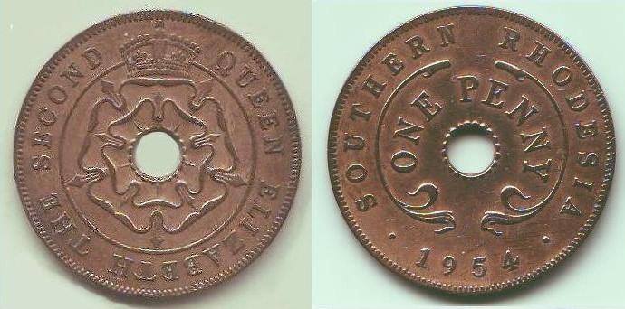 penny Rhodesia meridionale Elisabetta II