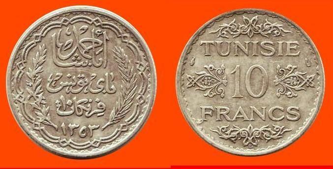 10 Franchi argento Tunisia - Protettorato Francese