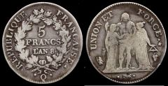 5 Franchi Union et Force, AN 8 zecca di Perpignan