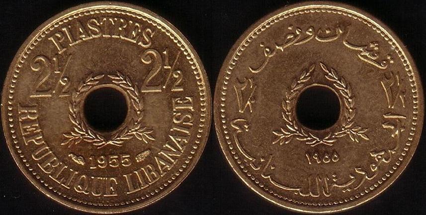 Libano – 2,5 Piastre – 1955