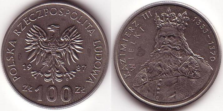 100 Zlotych - 1987 - Casimiro III
