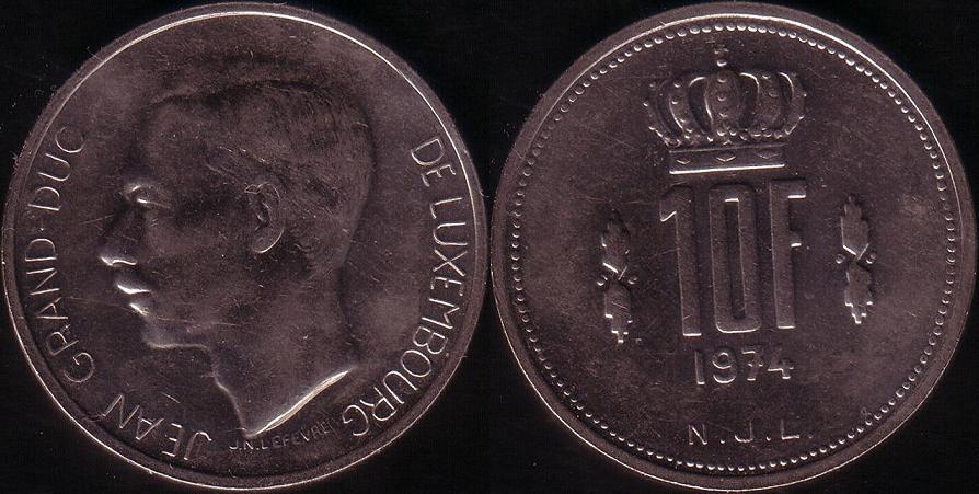 Lussemburgo – 10 Francs - 1974