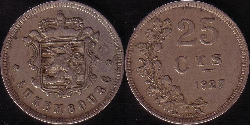 Lussemburgo – 25 Centimes – 1927