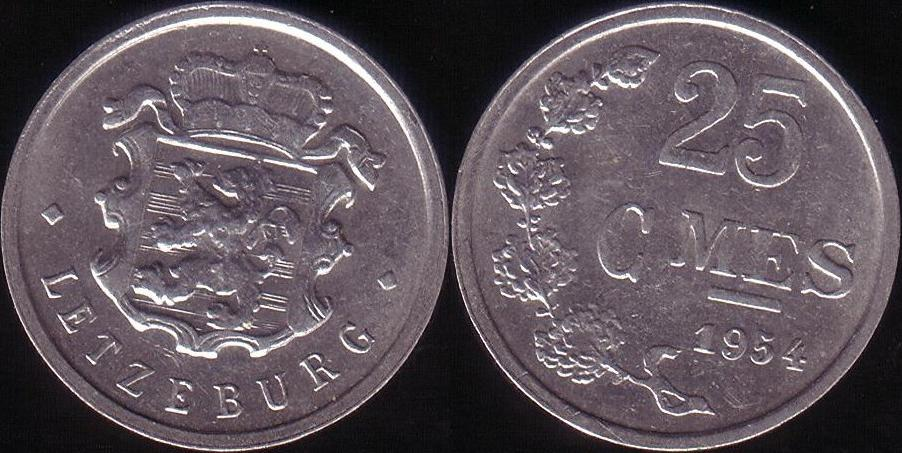 Lussemburgo – 25 Centimes – 1954