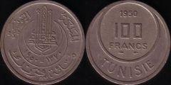 Tunisia – 100 Franchi – 1950