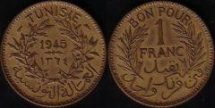 Tunisia – 1 Franco – 1945
