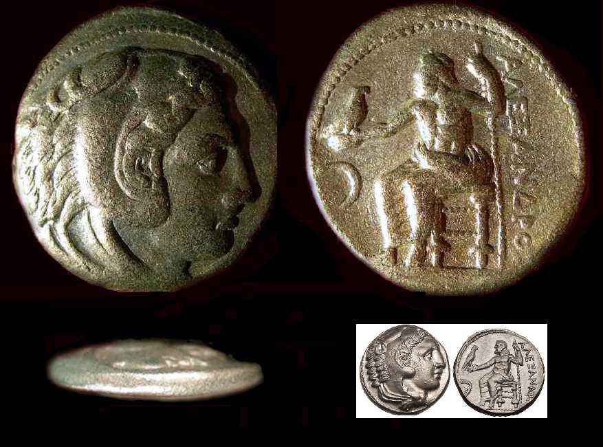 Rirpoduzione di un tetradramma di Alessandro III