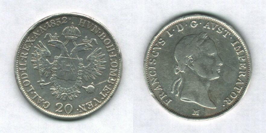 20 Kreuzer 2° tipo, Francesco I° d'Asburgo-Lorena