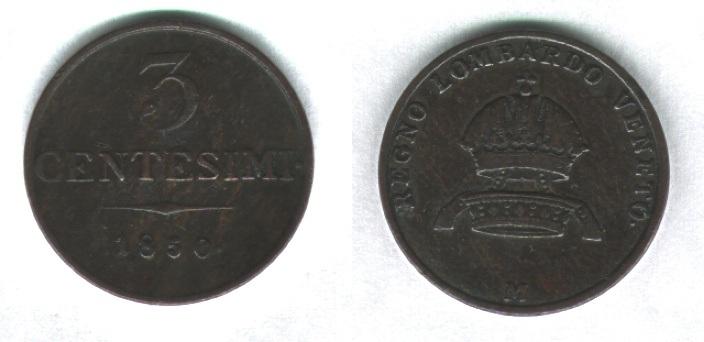 3 centesimi 1850, Francesco Giuseppe I° d'Asburgo-Lorena